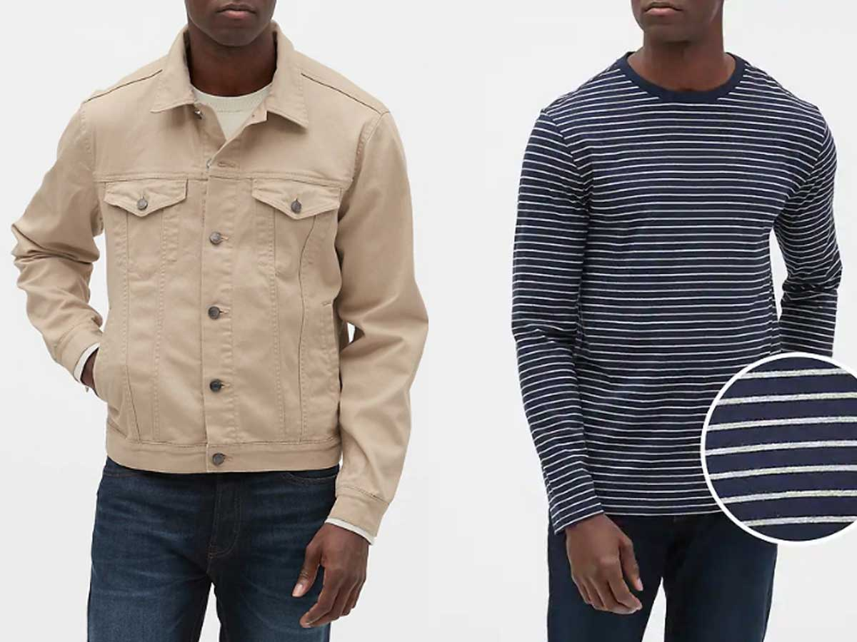 side by side stock images of men, one wearing a jacket, one wearing a long sleeve shirt