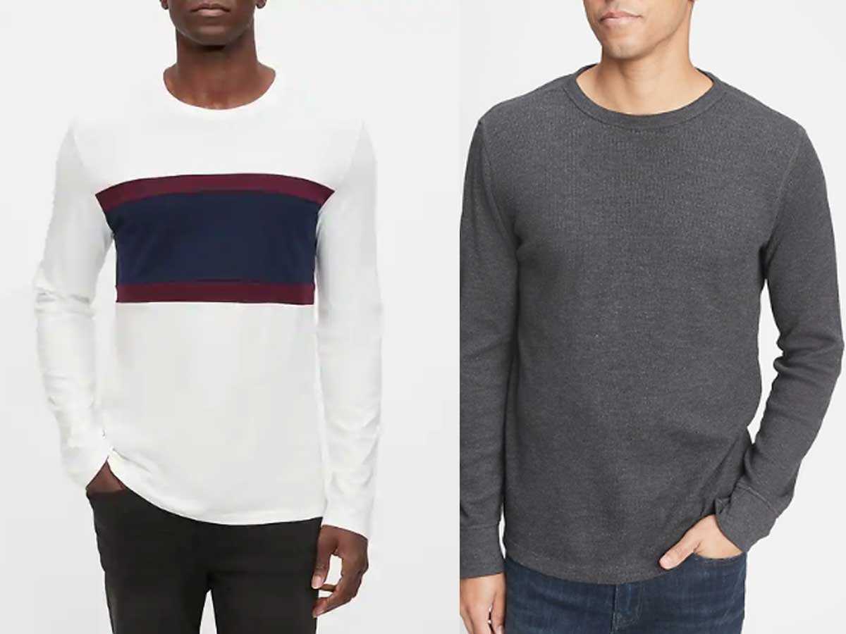 side by side stock images of men wearing long sleeves shirts