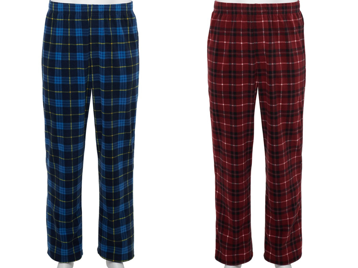 blue and red fleece pajama pants