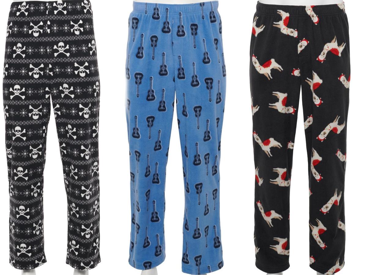 mens graphic microfleece sleep pants