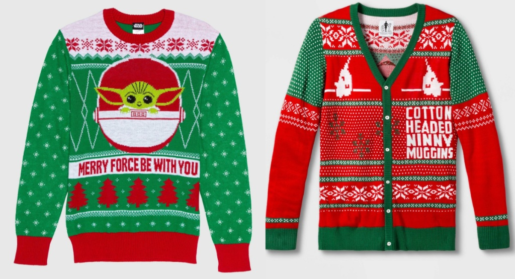 men's ugly sweaters the child and elf styles