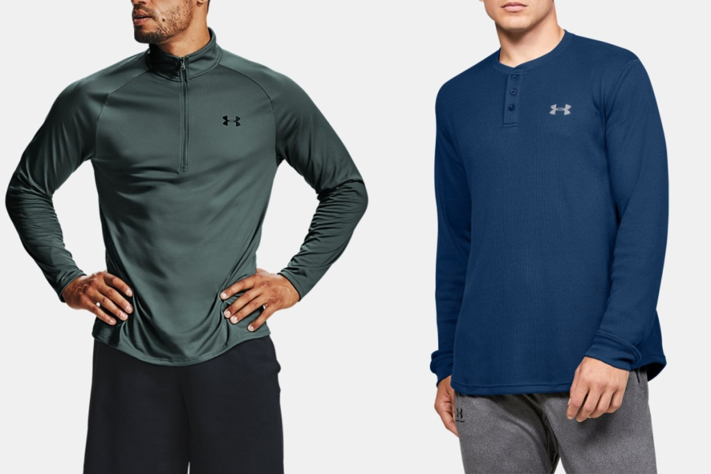 mens under armour tops two zip shirts