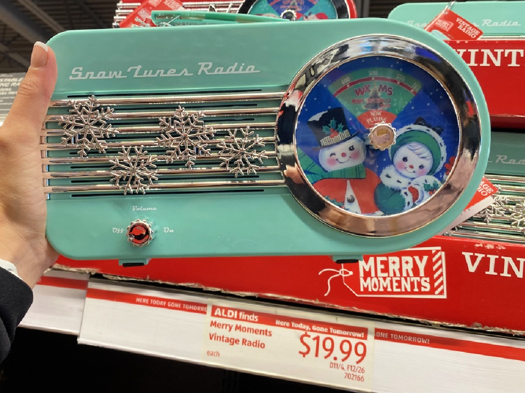 merry moments vintage radio at aldi