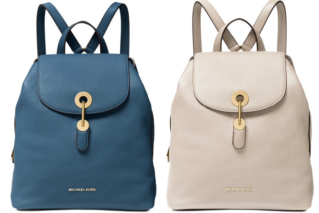 michael kors backpack in blue and tan