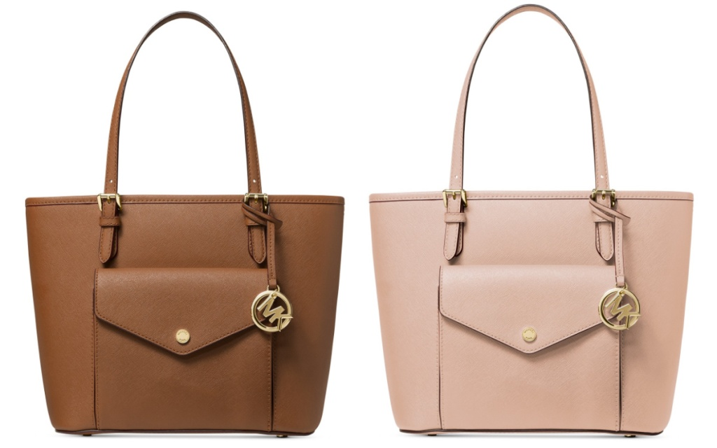 michael kors pocket tote brown and pink