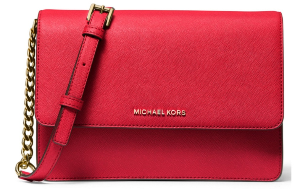 michael kors red crossbody with chain