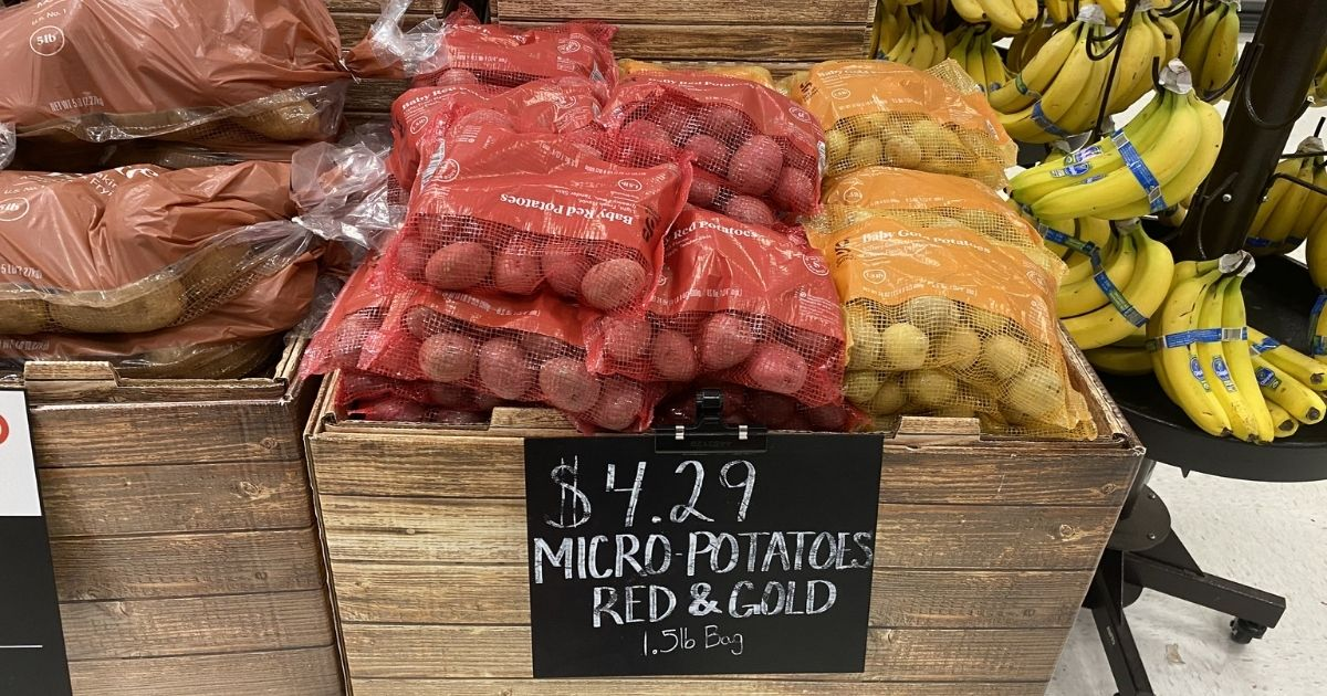 box of micro-potatoes red and gold