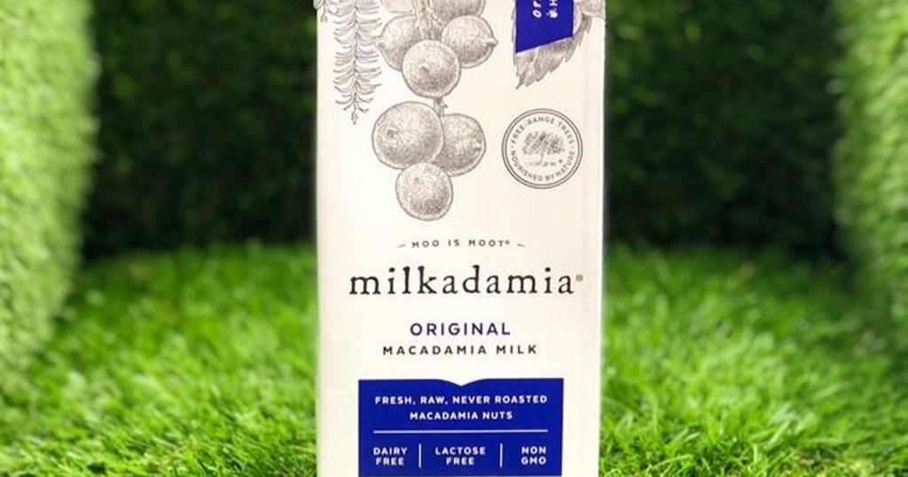 white and blue carton of milkadamia macadamia milk on a grassy background