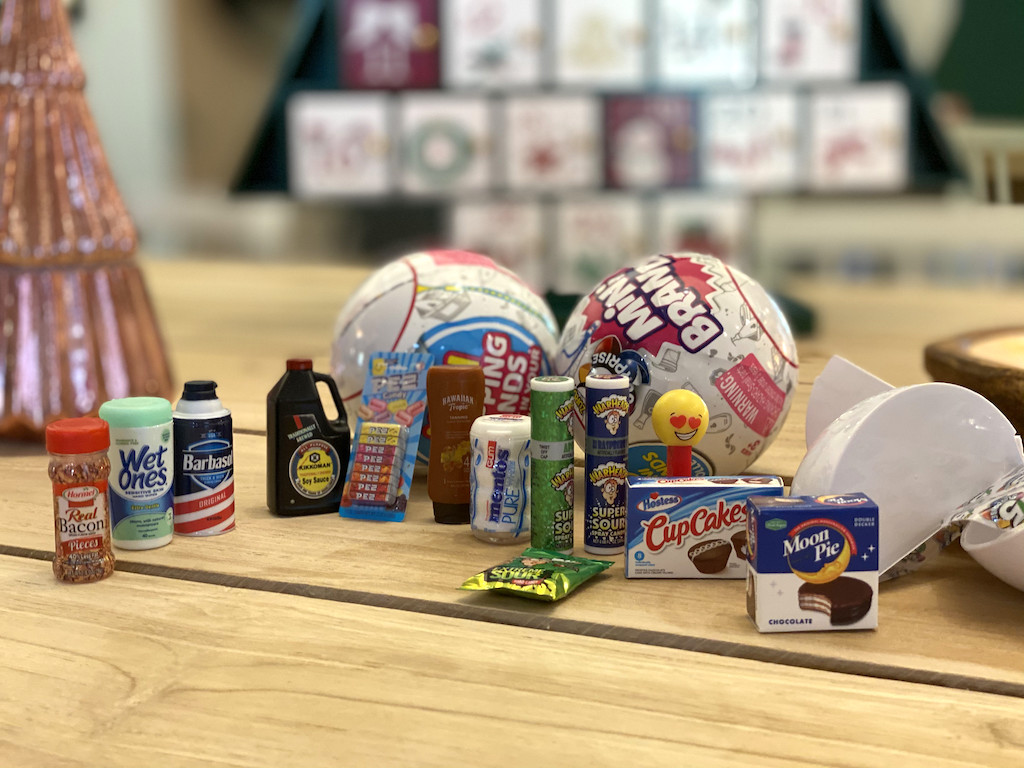 Mini Brands toys on table
