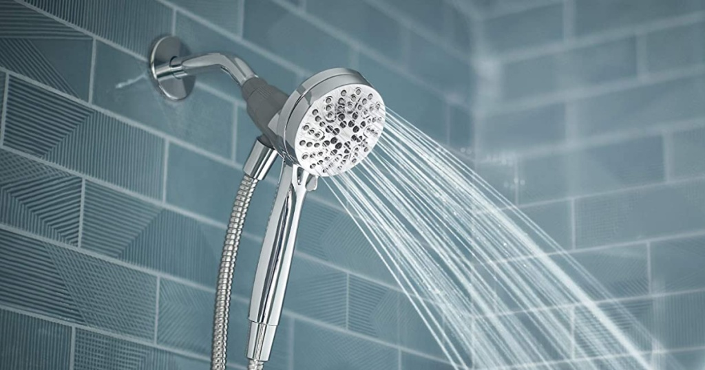 moen showerhead with water spraying