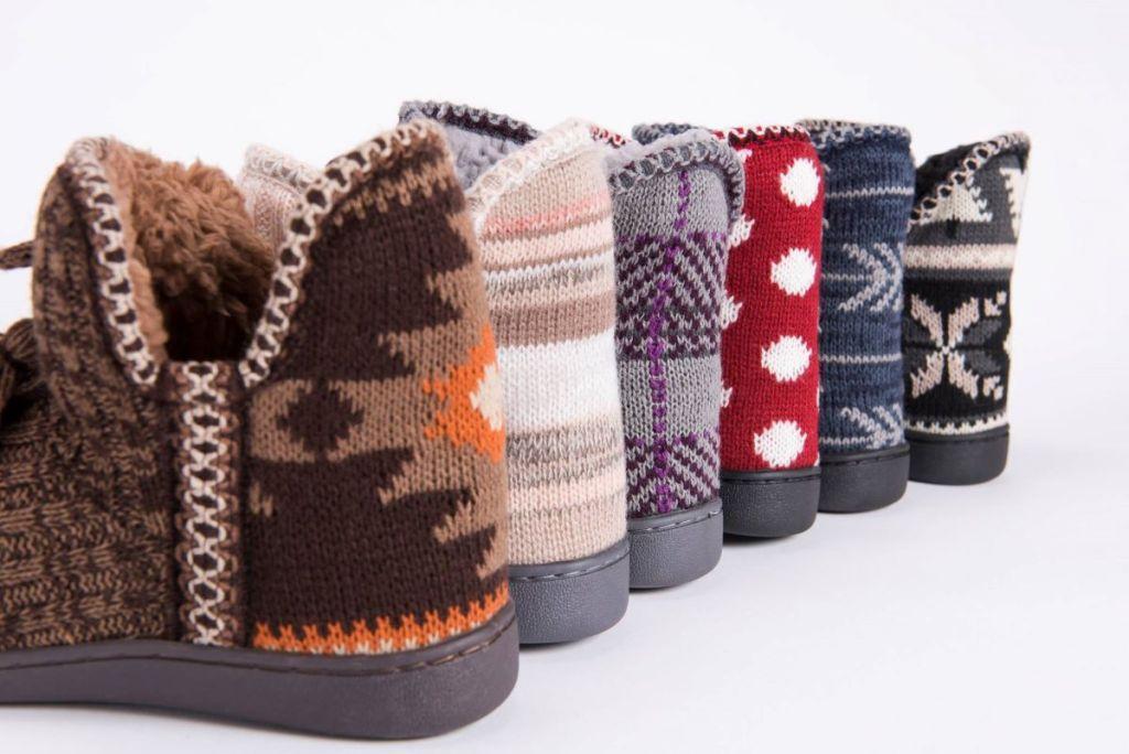 row of Muk Luks slippers