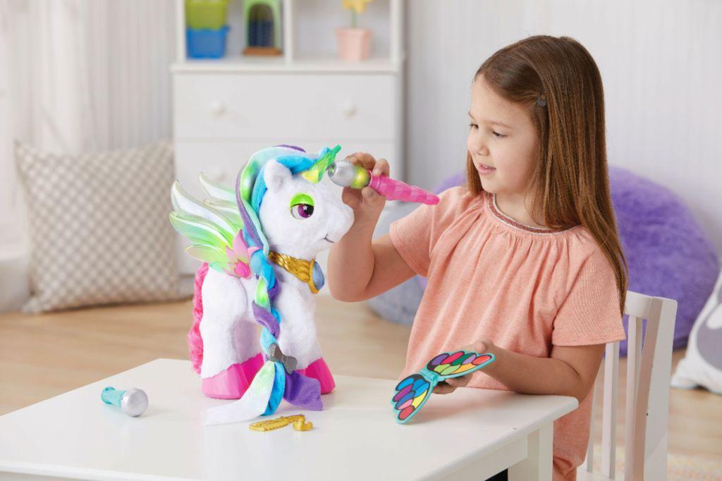 myla the unicorn with little girl