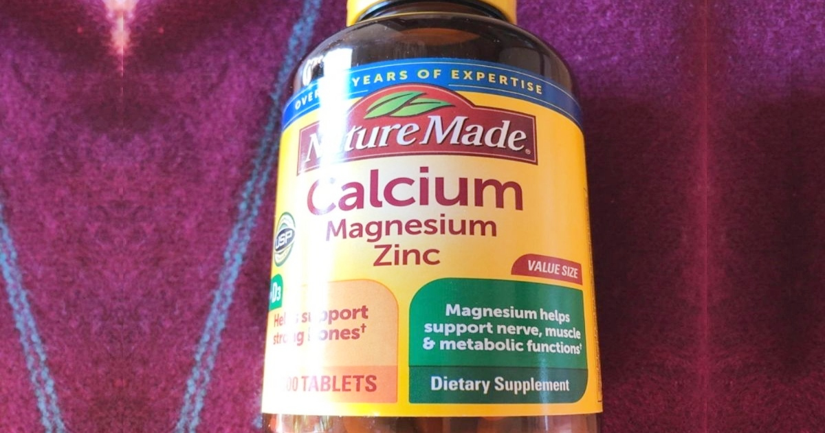 Close up of Nature Made Calcium Magnesium Zinc tablets bottle