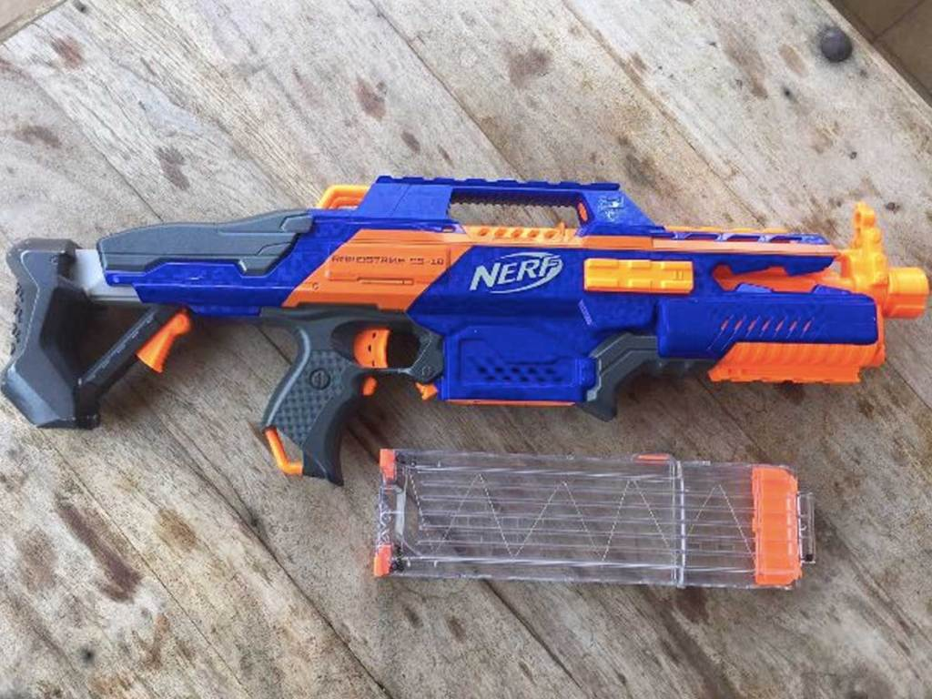 nerf gun on a wood table