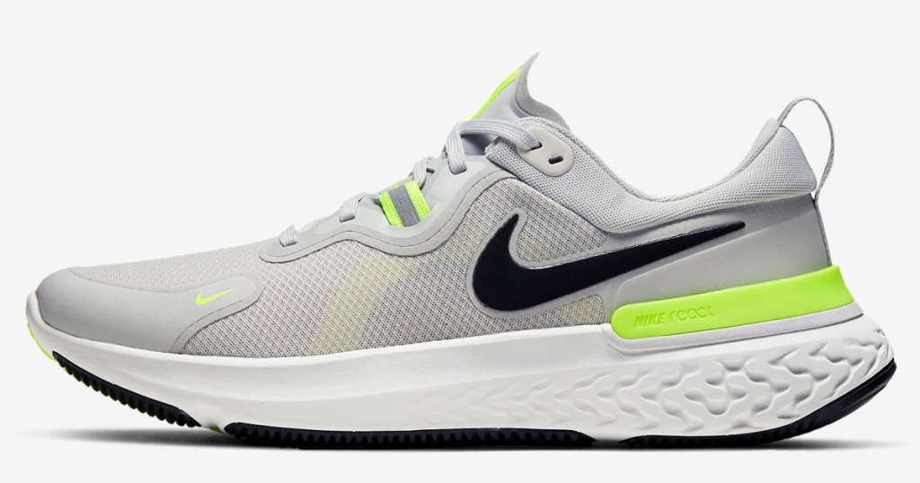 nike react miller shoe in grey and green