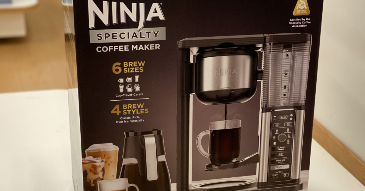 box with coffee maker in it
