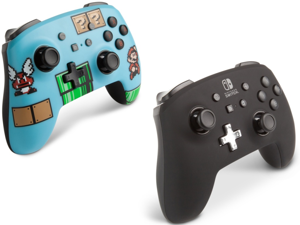 2 handheld game controllers in different colors
