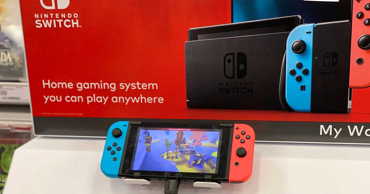 nintendo switch unit on display in store
