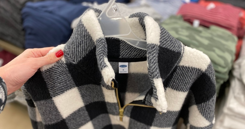 old navy sherpa pullover in hand in store at old navy