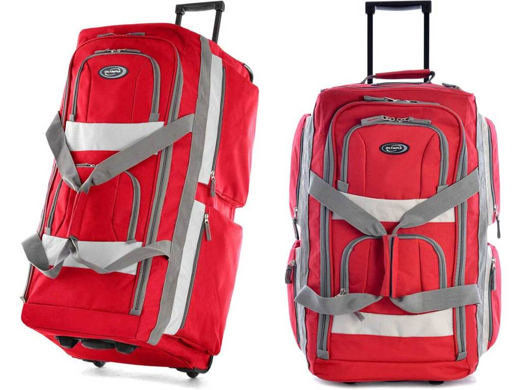 red duffel bag upright stock images