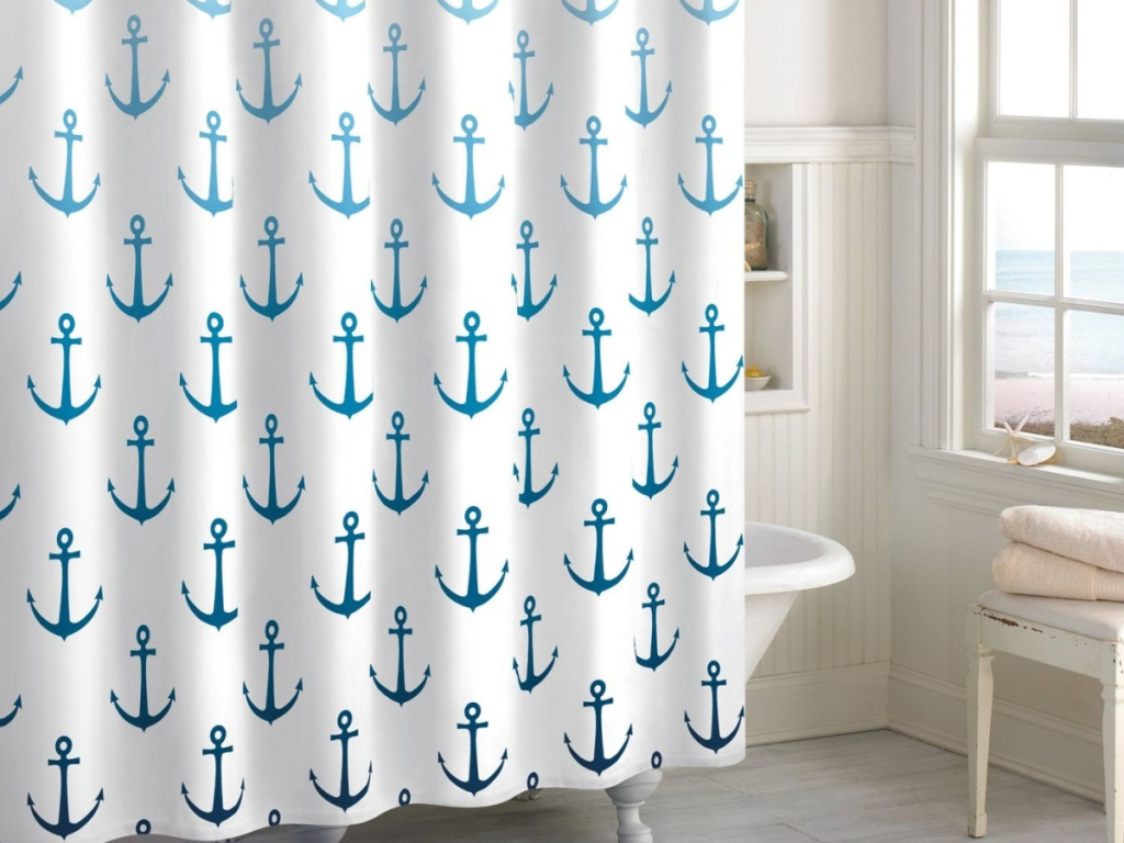 ombre anchor shower curtain in bathroom