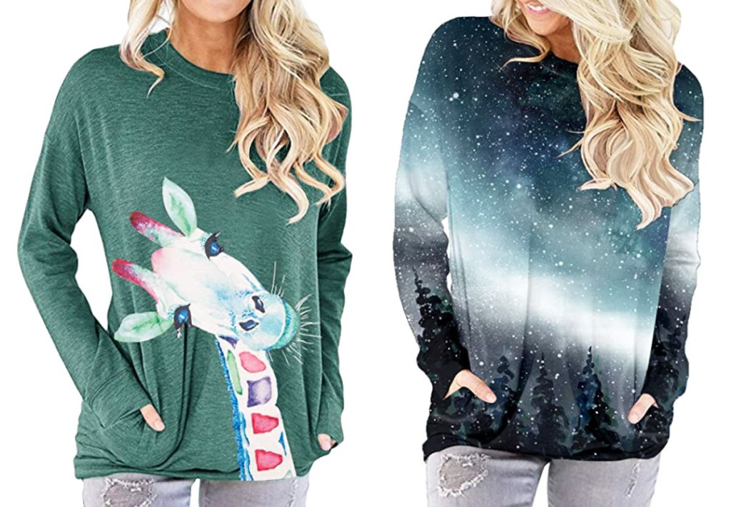two women modeling long sleeve tees with pockets in green with giraffe graphic and blue to grey gradient galaxy scene