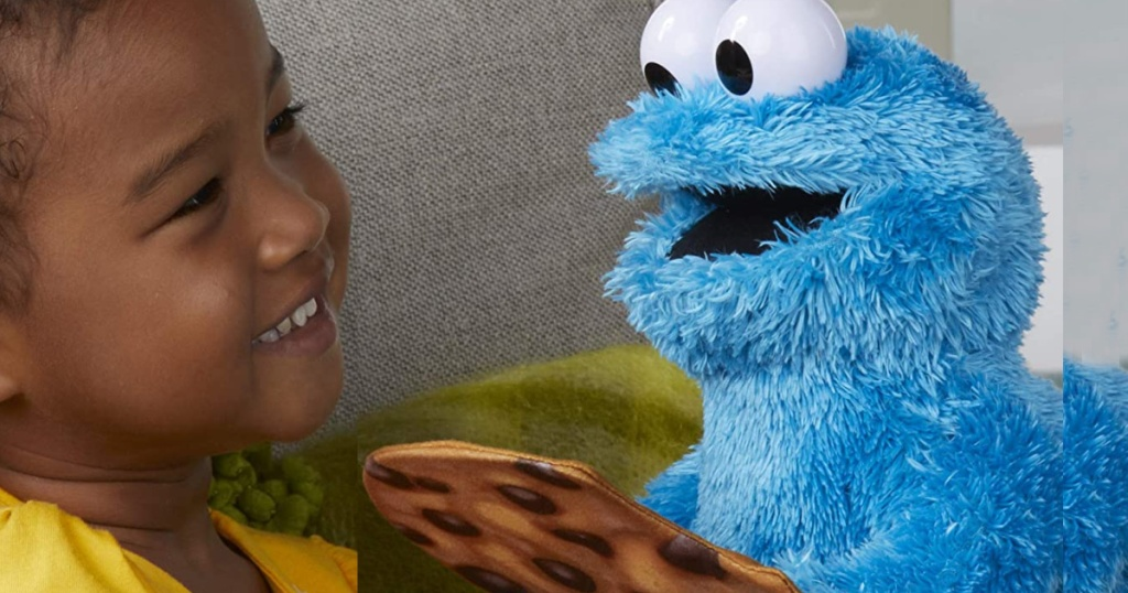 peek a boo cookie monster with little girl