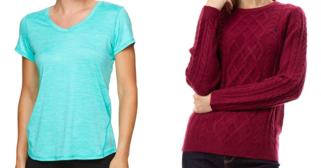stok gambar seorang wanita yang mengenakan kemeja biru dan sweter ungu