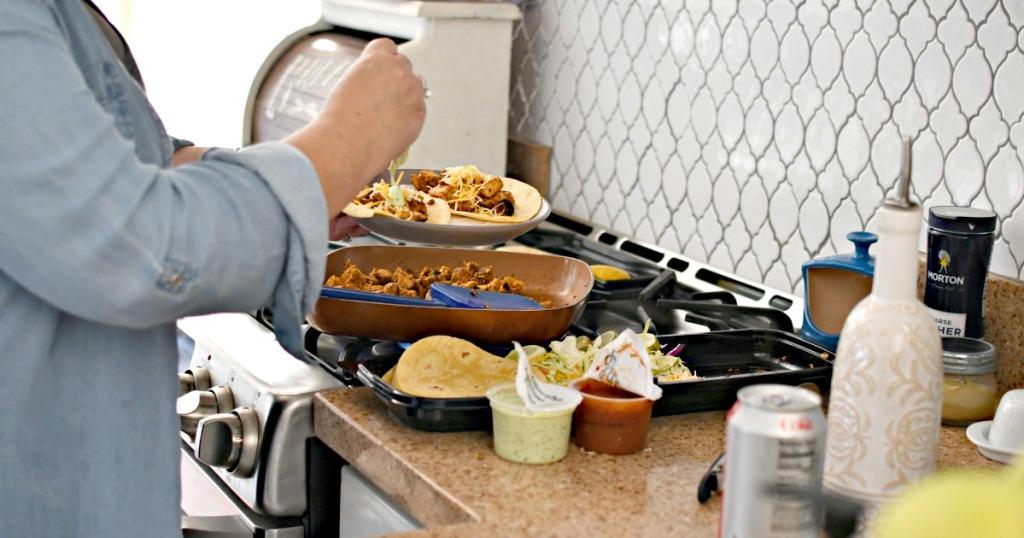 person making a costco taco kit