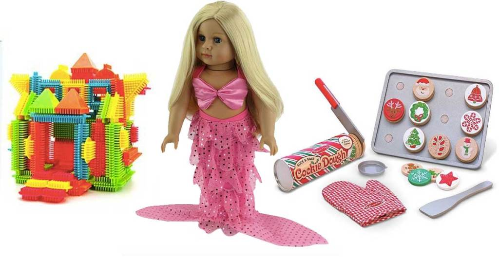 picasso tiles, mermaid doll, and bake set toys