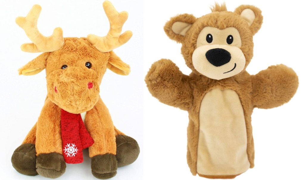 plushible reindeer and bear puppet