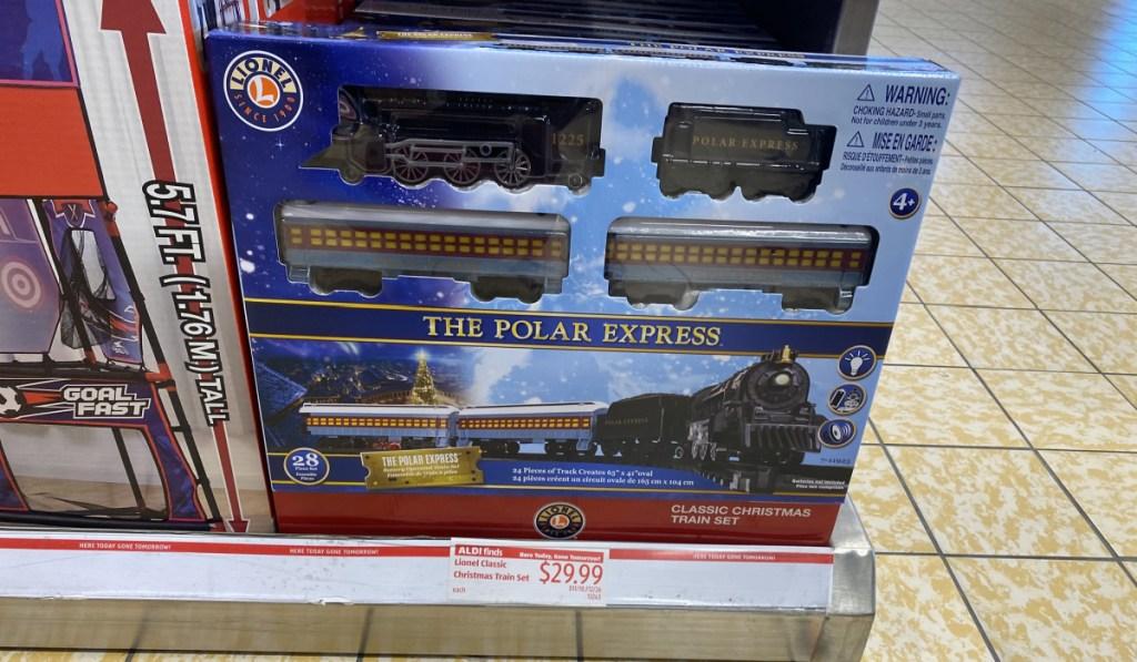 polar express train in store at ALDI