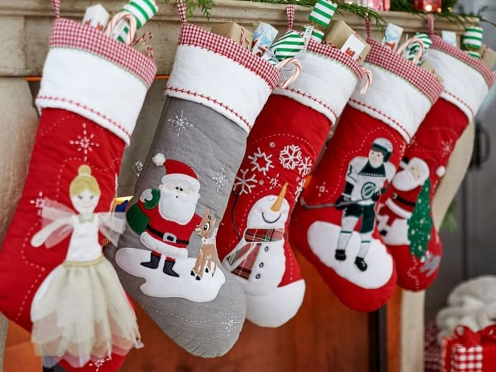 stockings filed and hanging on mantle
