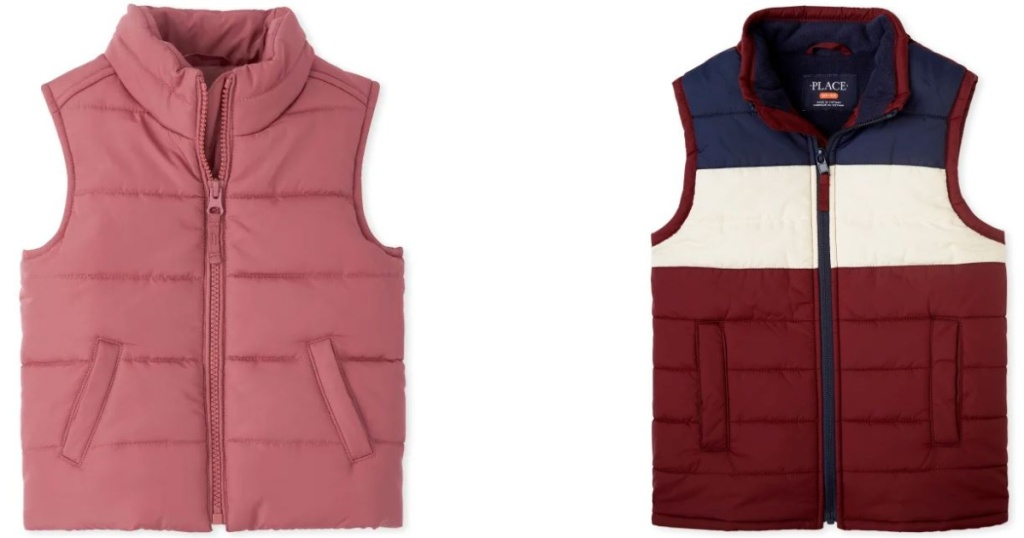 2 puffy kids vests on white background