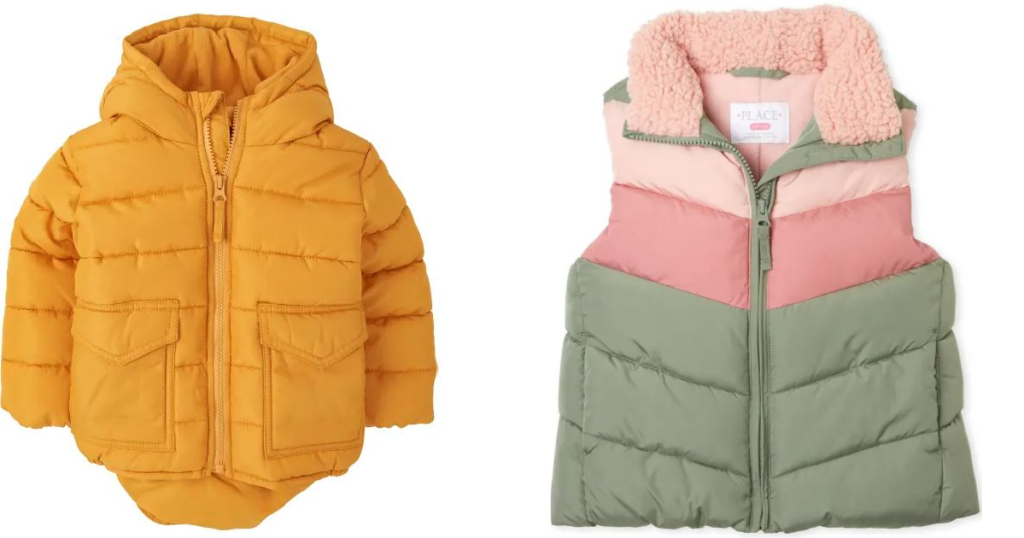 2 puffer jackets for kids on white background