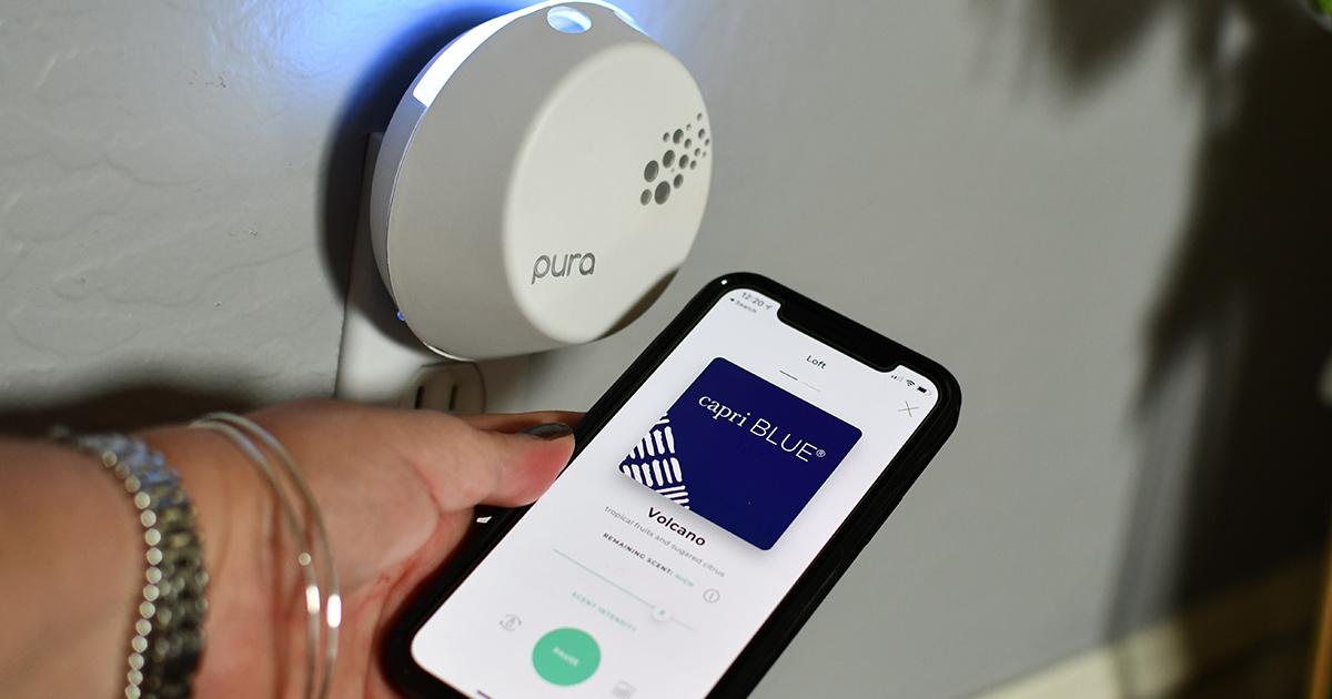 pura smart diffuser with smartphone