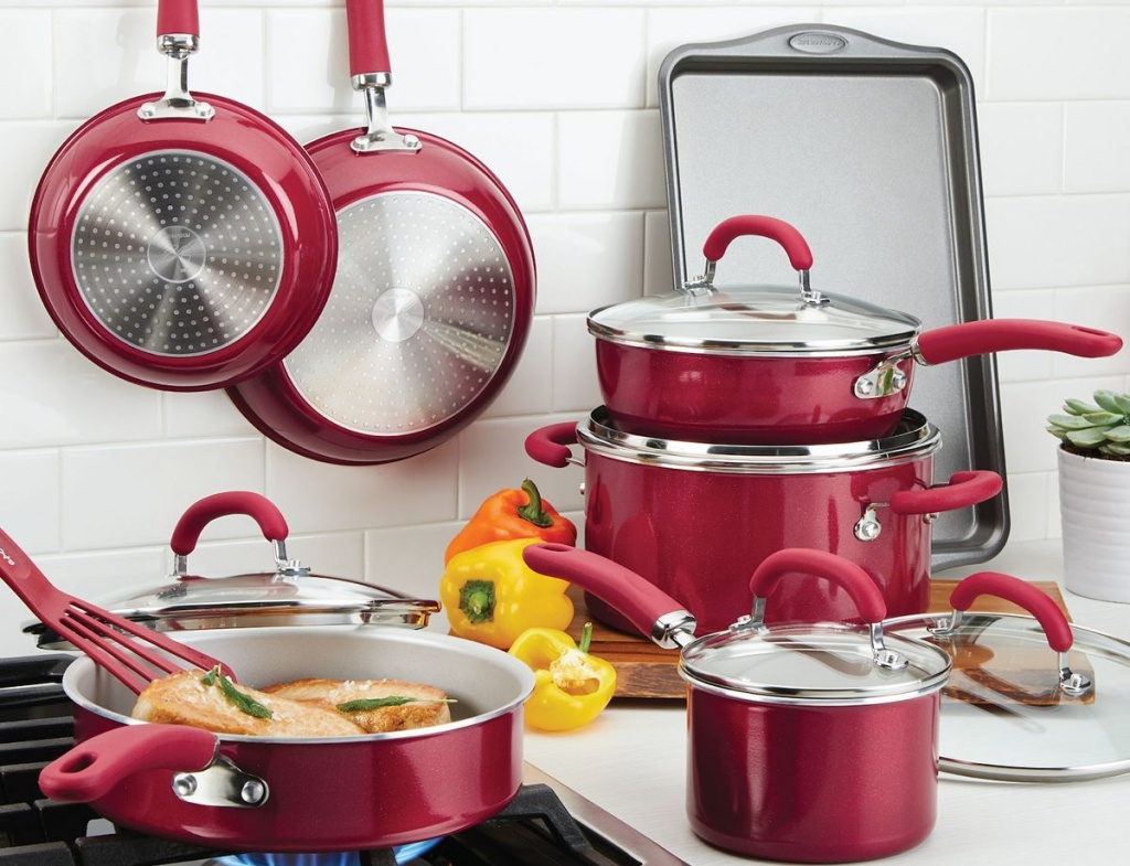 rachael ray cookware set in red