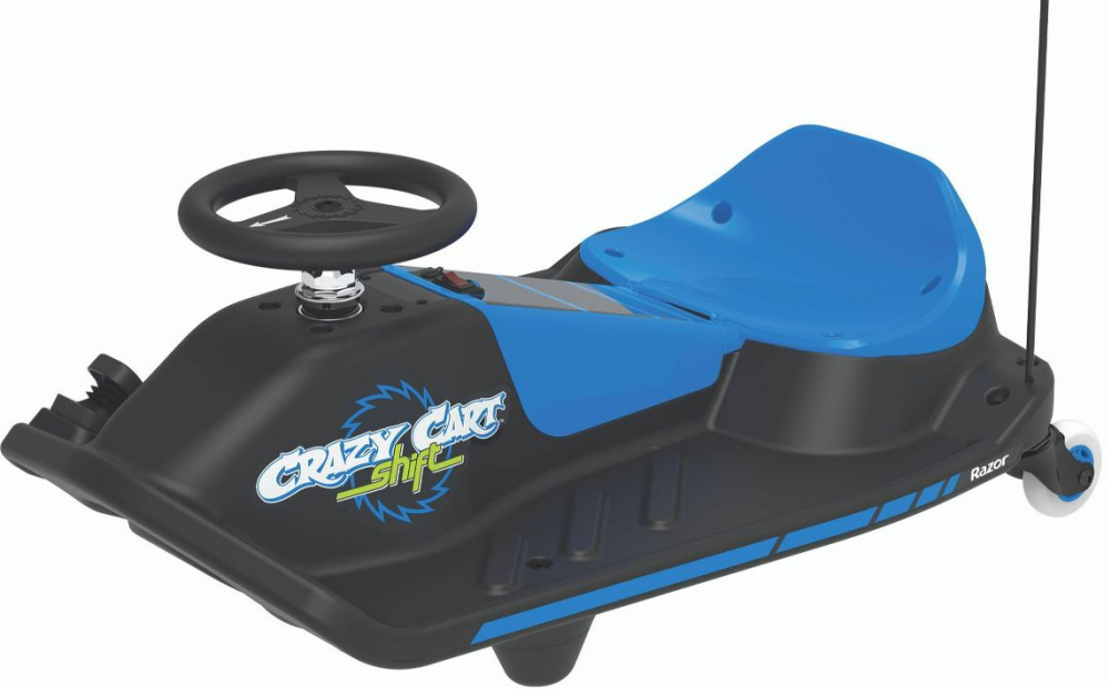razor go kart with flag in blue