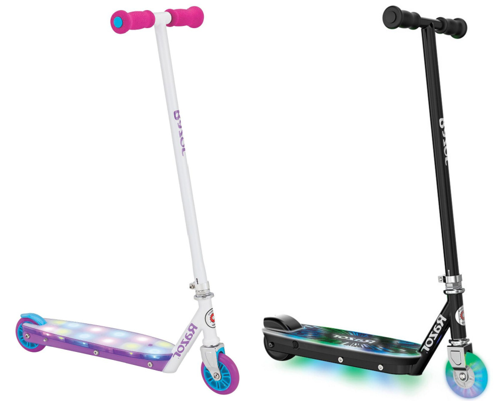 two razor scooters with lights