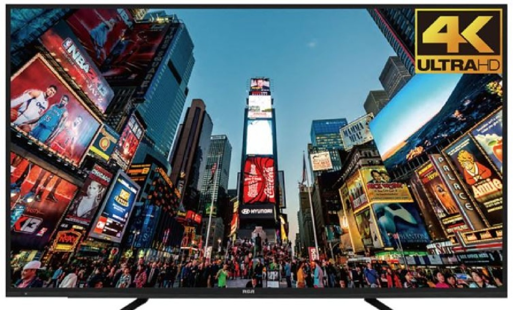 image of large TV with city picture