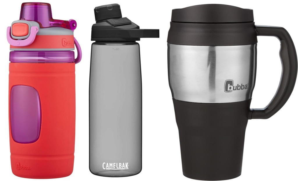 reusable water bottles three side by side
