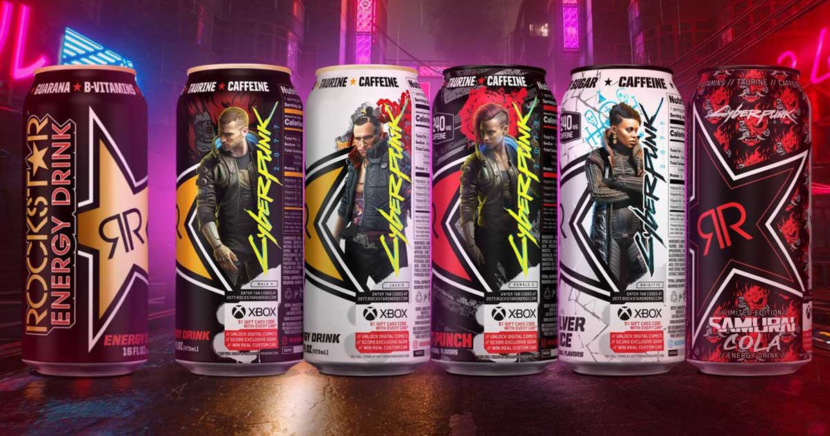 cans of cyberpunk energy drinks