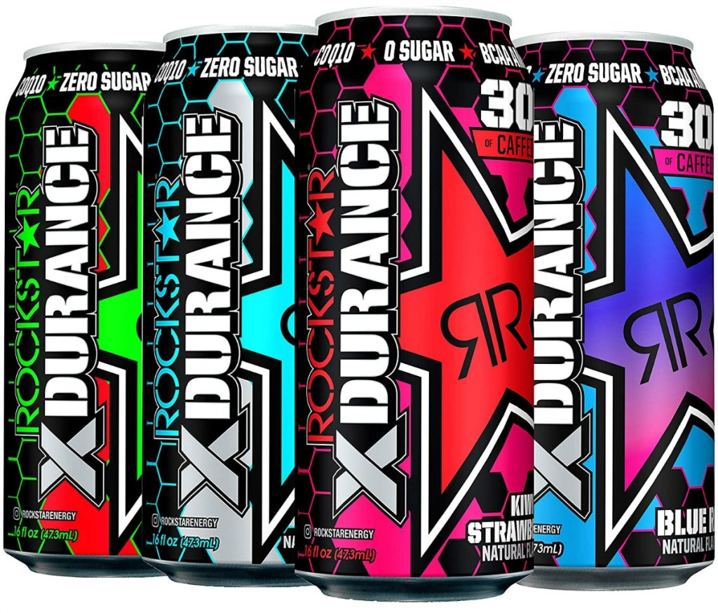 stock image of cans of rockstar energy drinks