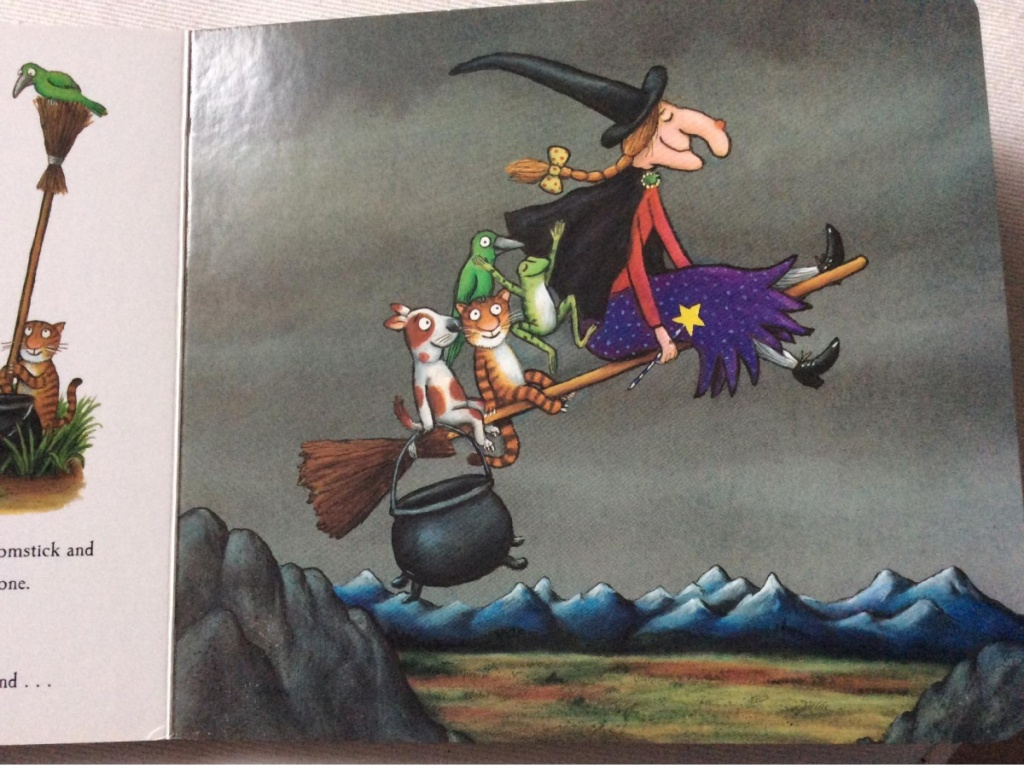 picture of book that has a witch on a broom