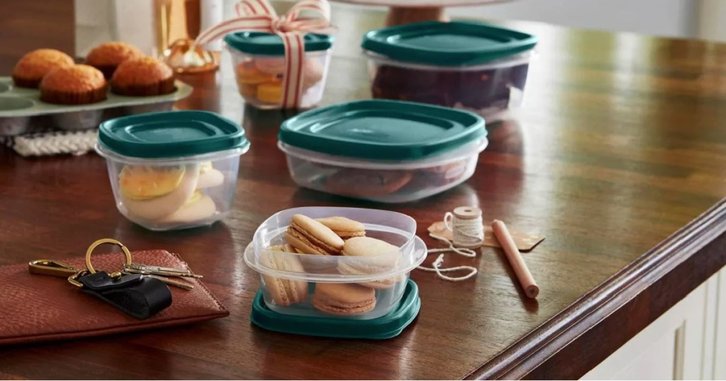 table with food storage containers laid out for lunch