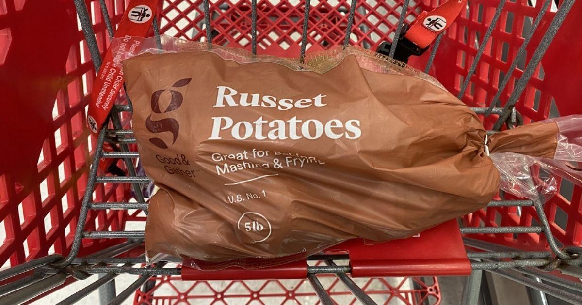 target cart with russet potatoes