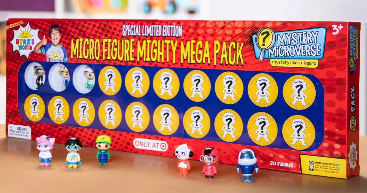 Ryans world mega pack with some of the figures set up in front of it.