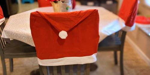 Santa Hat Chair Cover Just $1 at Dollar Tree | Add Cheer to Home Decor