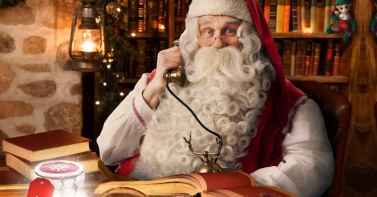 santa claus making a phone call