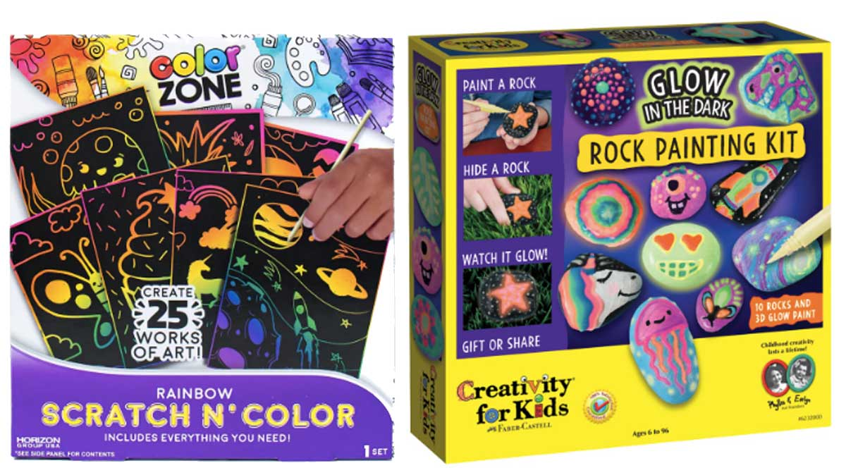 activity kits for kids scratch n color and rock painting kit